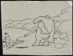 original drawing from 'Gertie the Dinosaur' featuring Gertie and a small mammoth
