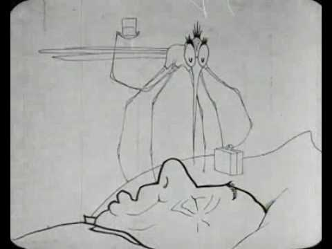 Still from 'How A Mosquito Operates' featuring the mosquito on a sleeping man