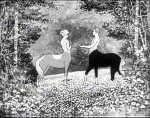 Still from 'The Centaurs' featuring a male centaur courting a female centaur