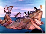 Still from 'King Neptune' featuring several mermaids on a rock